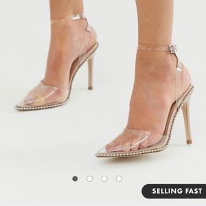 Brand new ASOS studded clear heels !
